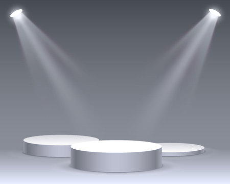 Stage podium with lighting, stage podium scene with for award ceremony on white background, vector illustration