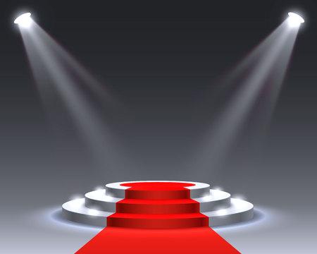 Podio de escenario con iluminación, Escena de podio de escenario con ceremonia de premiación sobre fondo gris, ilustración vectorial Ilustración de vector