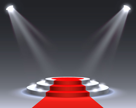 Stage podium with lighting, Stage Podium Scene with for Award Ceremony on gray Background, Vector illustration Vector Illustratie