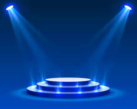 Stage podium with lighting, Stage Podium Scene with for Award Ceremony on blue Background, Vector illustration Векторная Иллюстрация