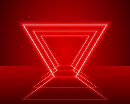 Neon show light podium red background. Vector illustration