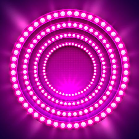 Show light podium purple background. Vector illustration Illustration