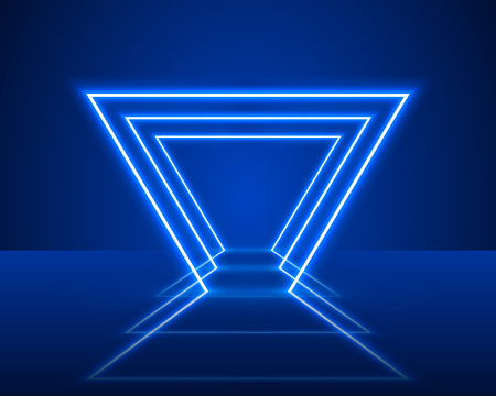 Neon show light podium blue background. Vector illustration