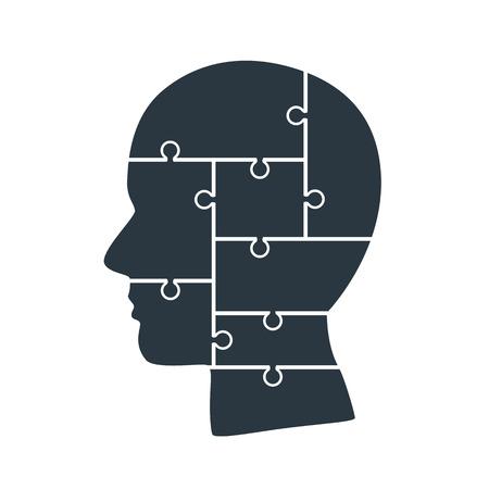 Head info puzzle sign, template design element, vector illustration Reklamní fotografie