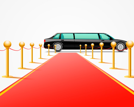Red event carpet isolated on a white background. Vector illustration Vector Illustration