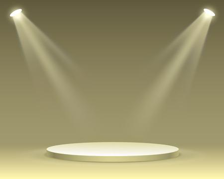 Podio del palco con illuminazione, scena del podio del palco con per la cerimonia di premiazione su sfondo giallo, illustrazione vettoriale