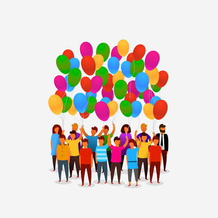 People birthday balloons on the white background. Vector illustration