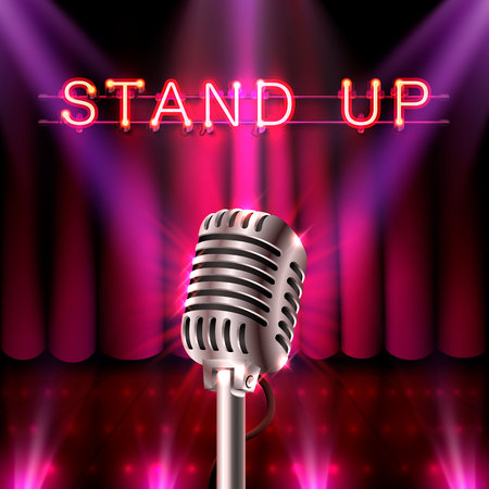 The stand up, microphone on the red scene. Vector illustration Illustration