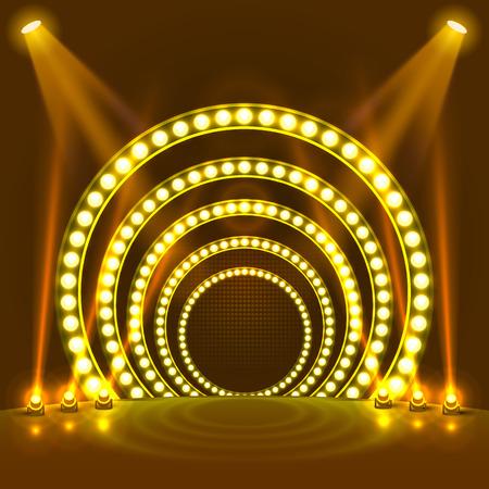Show light podium yellow background. Vector illustration Reklamní fotografie - 110969511