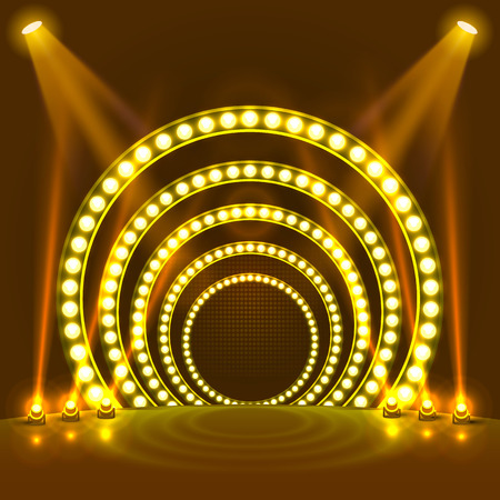 Show light podium yellow background. Vector illustration