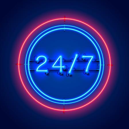 Enseigne au néon 24 heures sur 7. Illustration vectorielle