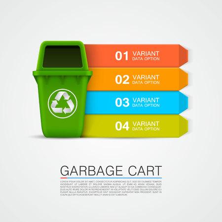 Graphic information Ecological trash art. Vector illustration