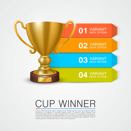 Graphic information Winner cup art. Vector illustration