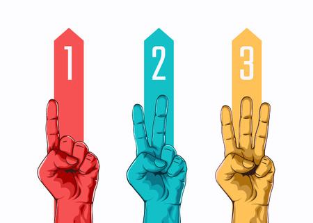 Satz des Zählens eins zwei drei Handzeichen. Drei Schritte oder Optionskonzept. Vektor-Illustration Standard-Bild