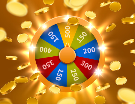 Wheel Of Fortune with falling coins. Gamble chance leisure. Colorful gambling wheel. Jackpot prize concept background. Vector Illustration