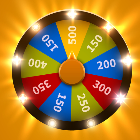 Wheel Of Fortune. Gamble chance leisure. Colorful gambling wheel. Jackpot prize concept background. Vector Illustration Ilustrace