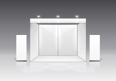 Podio de espectáculo de escena para presentaciones sobre el fondo gris. Ilustración vectorial Ilustración de vector