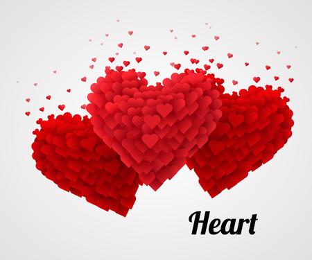 레드 발렌타인 하트, 밝은 배경에 고립. 사랑 개념입니다. 벡터 일러스트 레이 션