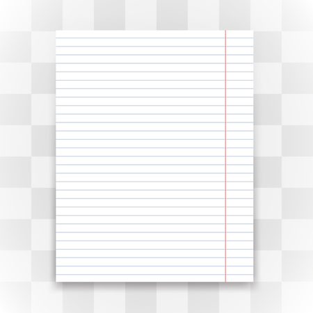Blank white lined paper on transparent background. Vector illustration.