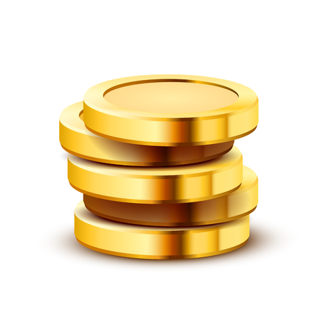 Stack of golden dollar coins isolated on white background. Vector illustration
