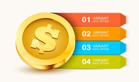 Vorlage für Geschäftspräsentationen. Geschäftslösungen oder Optionen. Geld-Infografiken. Dollar-Münze. Vektor-Illustration Vektorgrafik