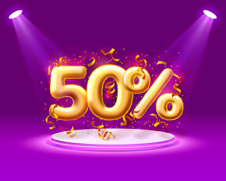 Sale 50 off ballon number on the purple background. Vector illustration