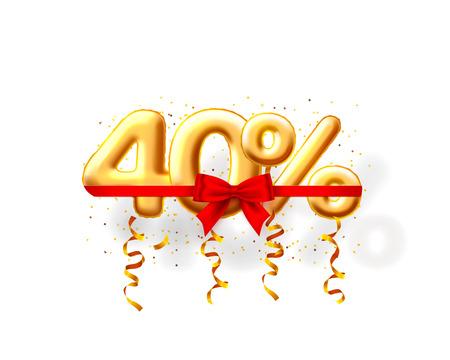 Sale 40 off ballon number on the white background. Vector illustration Stock Illustratie