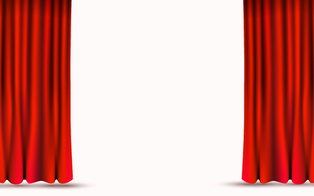 Red velvet curtains isolated on white background. Show stage concept.