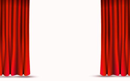 Rote Samtvorhänge getrennt auf weißem Hintergrund. Bühnenkonzept zeigen.