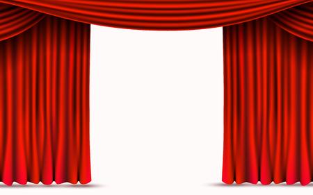 Tende di velluto rosso isolate su sfondo bianco. Mostra il concetto di palcoscenico.