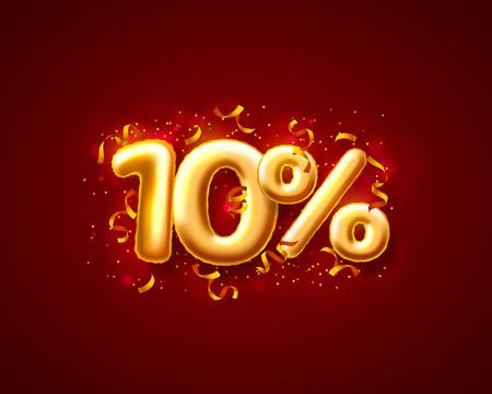 Sale 10 off ballon number on the red background. Vector illustration Illustration