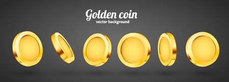 3d gold isolated coins set. Different positions. Flying gold coins, golden rain background. Jackpot or success concept.