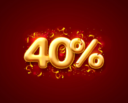 Sale 40 off ballon number on the red background. Vector illustration
