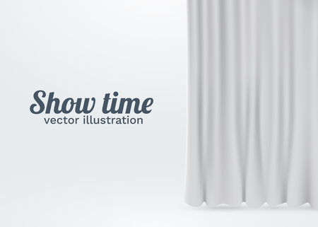 White velvet curtains isolated on white background. Show stage concept.