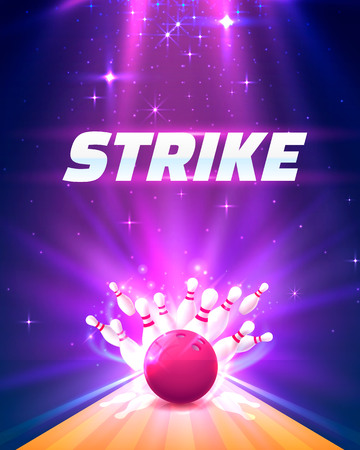 Bowling club poster strike with the bright background. Vector illustration