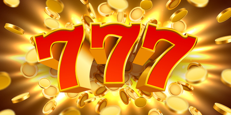 Golden slot machine 777 with flying golden coins wins the jackpot. Big win concept.