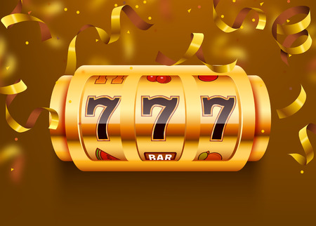 Golden slot machine with flying golden confetti wins the jackpot. Big win concept. Illustration