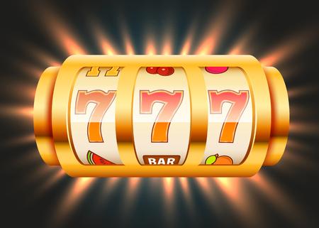 Goldener Spielautomat gewinnt den Jackpot. Casino-Konzept mit großem Gewinn.