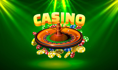 Casino roulette big win coins on the green background. Vector illustration
