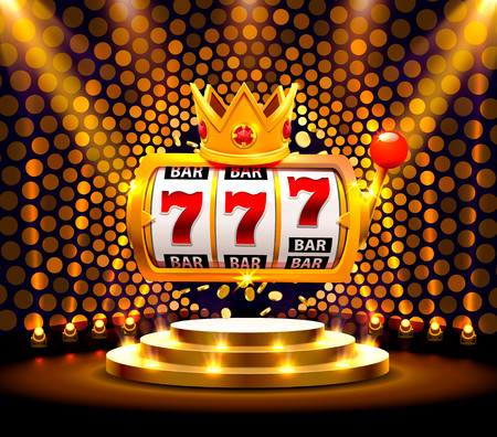 King slots 777 banner casino on the golden background.