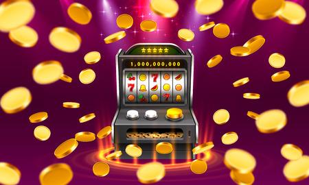 La machine à sous 3d remporte le jackpot, isolée sur fond de lampe rougeoyante. Illustration vectorielle