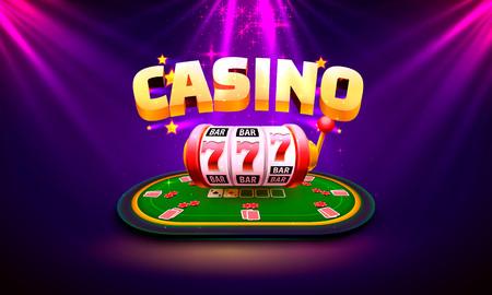 Casino dice banner signboard on background. Vector illustration Векторная Иллюстрация