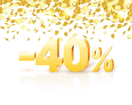 Big Discount, action with share discount percentage 40. Vector illustration