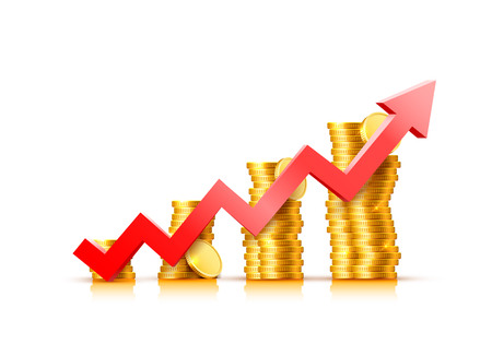 Finance growth chart arrow with gold coins Ilustrace