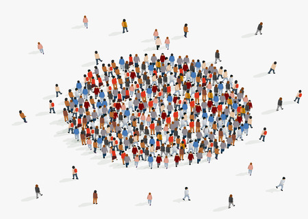 Template for advertising brochure with people crowd in shape of circle. Vector illustration
