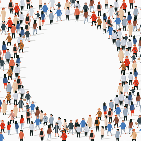 Grande gruppo di persone a forma di cerchio. Illustrazione vettoriale