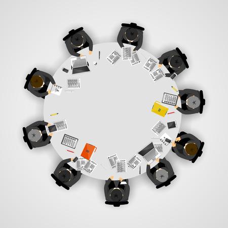 Gente de negocios en una mesa redonda. Ilustración vectorial