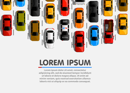 Traffic jam on the road. Road transport. Highway banner. Vector background Çizim