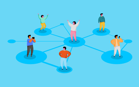 Connecting people. Social network concept. Refer a friend program.