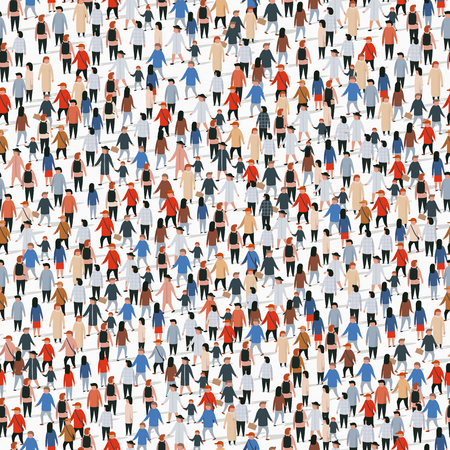 Large group of people. Vector seamless background Vector Illustration
